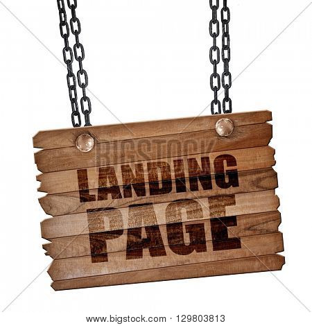 landing page, 3D rendering, wooden board on a grunge chain