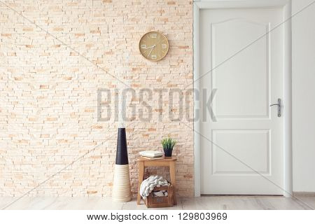 Modern decoration with white door in room interior
