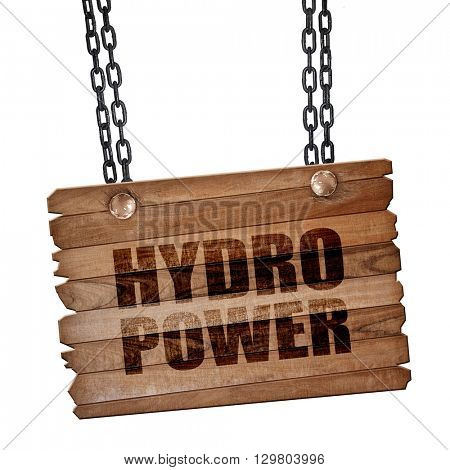 hydro power, 3D rendering, wooden board on a grunge chain