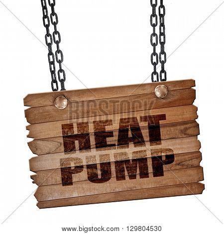 heat pump, 3D rendering, wooden board on a grunge chain