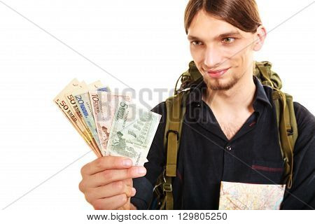 Man Tourist Backpacker Holding Euro Money. Travel.
