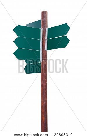 Blank crossroad signpost isolated on white background with clipping path