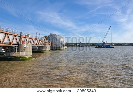 The Thames Barrier - close up of movable flood barrier in eastern London United Kingdom