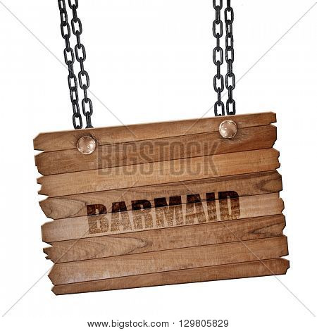 barmaid, 3D rendering, wooden board on a grunge chain