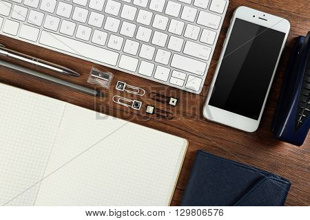 Stylish workplace with accessories, flat lay