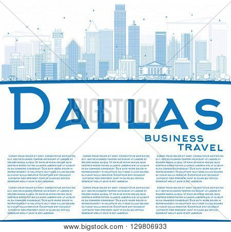 Outline Dallas Skyline with Blue Buildings and Copy Space. Business Travel and Tourism Concept with Modern Buildings. Image for Presentation Banner Placard and Web Site.