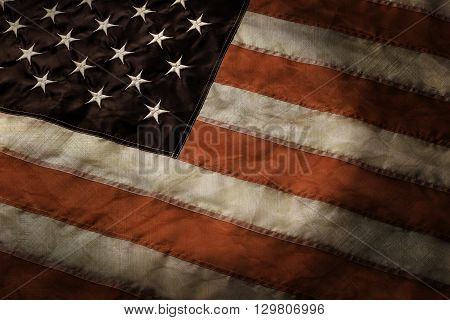 Aged flag of United States. Old American banner. Together we are strong. Country, nation and pride.