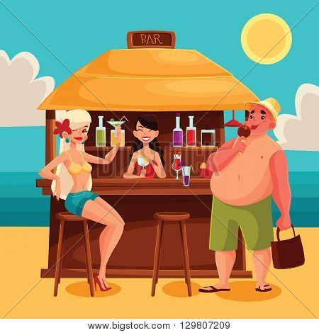 Beach bar with a cocktail, cartoon illustration with girls, bartender, cocktails, and a man Summer vacation at the beach, a trip to the warm sea, Rest on vacation with alcohol