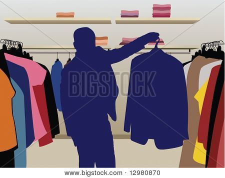 man suit silhouette in shop vector
