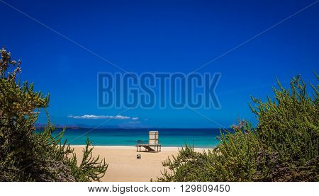 Lifeguard booth on the beach in Corralejo National Park, Fuerteventura, Canary Islands, Spain