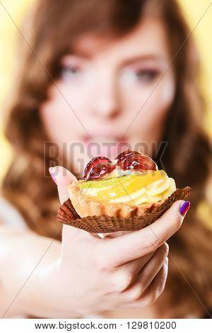 Cupcake Cake In Woman Hand. Sweet Food.