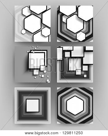 set of six designs, geometric hexagon and squares concept background material illustration. eps10 vector