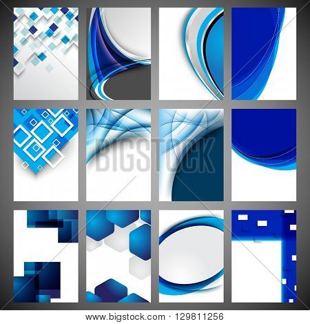 set of 12 designs, geometric shapes and wave elements concept background material illustration. eps10 vector