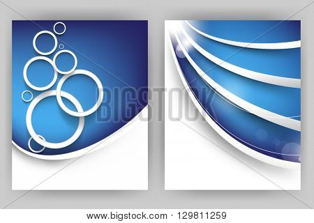 set of two designs, white rings and bent lines concept background material illustration. eps10 vector