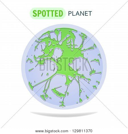Spotted Planet. Logo Design. World Environment Day concept. Green Spotted Planet with Water. Logo for radio, television, web or your company.
