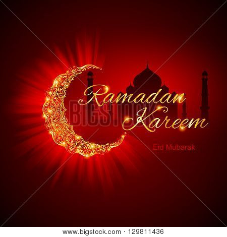 Glowing Crescent Moon by Taj-Mahal in brilliant golden shades on dark red background. Greeting card of holy Muslim month Ramadan