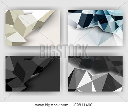 set of four designs, elegant geometric triangular polygons concept background material illustration. eps10 vector