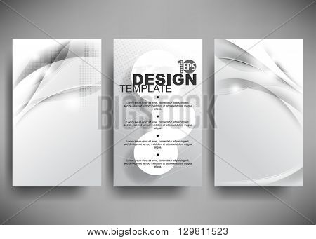 set of three designs, elegant metallic waves concept background material illustration. eps10 vector