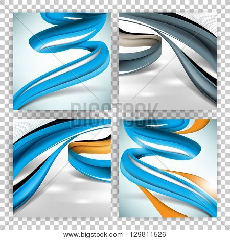 set of four designs, swirling lines concept background material illustration. eps10 vector