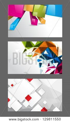 set of three designs, multicolored geometric shapes concept background material illustration. eps10 vector