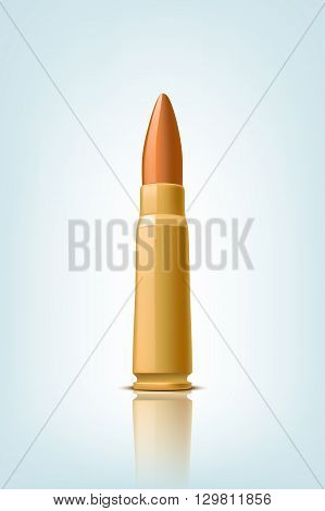 illustration of bullet with shadow on grey background