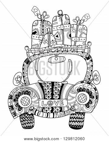Hand drawn doodle outline holiday car travel decorated with ornaments.Vector illustration.Floral ornament.Sketch for tattoo or coloring pages.Boho style.
