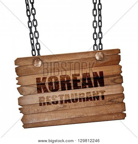 Delicious korean cuisine, 3D rendering, wooden board on a grunge