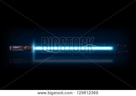 illustration of big blue light sword with reflection on dark background