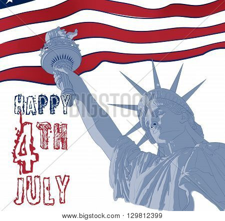 Festive card design for fourth of July Independence Day USA with symbols of America: Statue of Liberty with american flag on the background. Patriotic series, main celebration of USA. Artistic paint