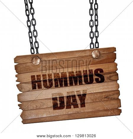hummus day, 3D rendering, wooden board on a grunge chain