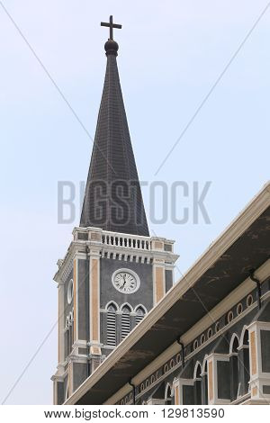 roof architecture of the church on clear daysanctuary in Thailand.