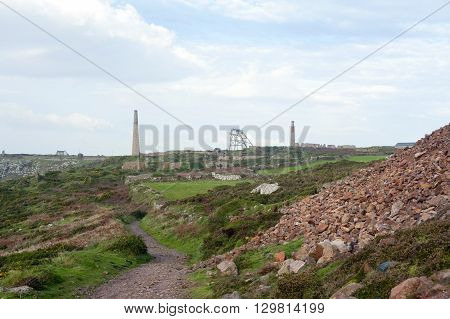 View of the historical Botallack tin mine located in West Cornwall England United Kingdom