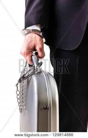 Wrist Handcuffed Suitcase