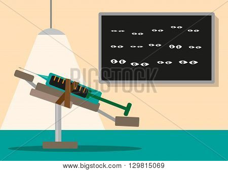 Lethal Injection Death Penalty concept with witnesses watching the procedure.  Editable Clip Art.