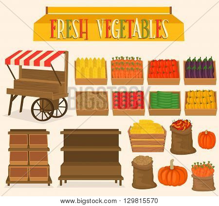 Set for street markets in vegetables. Boxes of vegetables. Shop on wheels. Stand for street markets. A sign for a local store.