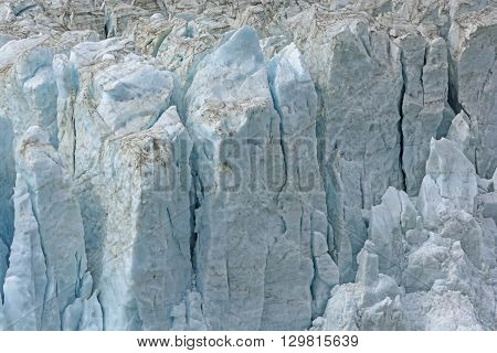 Details of the Glacial Surface of Pia Glacier in Tierra del Fuego in Chile