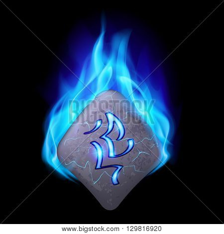 Secret bend stone with magic rune burning in blue flame