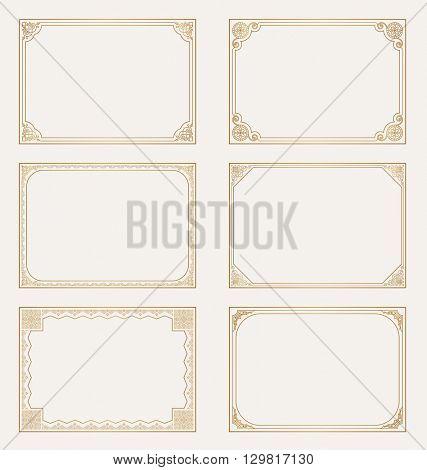 Decorative vector vintage frames set. Baroque decorative gold frames. Calligraphic corners for cards design
