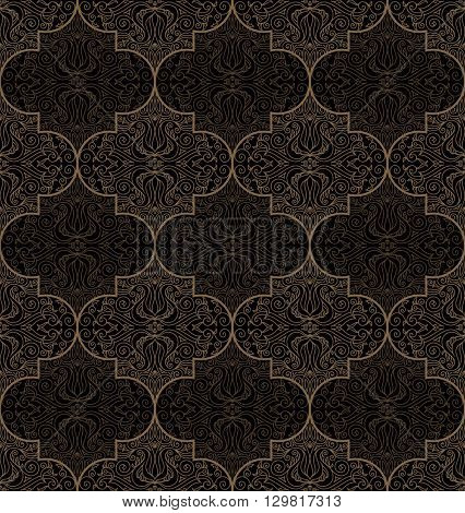Vector seamless gold and black pattern with art ornament. Vintage elements for design in Eastern style. Ornamental lace background. Ornate floral decor for wallpaper. Endless texture