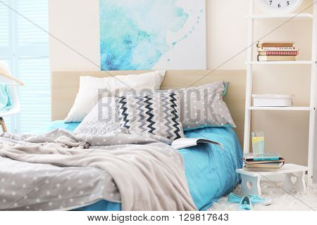 Modern room interior with big bed