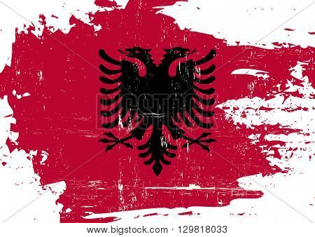 Albania scratched Flag. An Albanian flag with a grunge texture