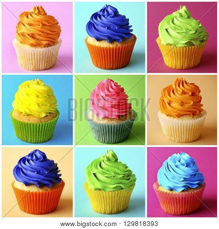 Big collection of colourful cupcakes on motley backgrounds