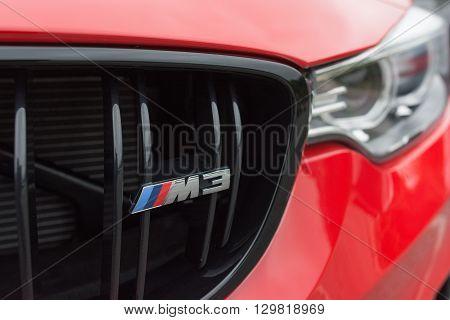 Red Bmw Emblem M3 On Detail