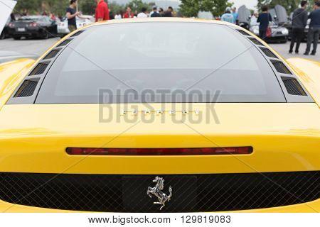 Yellow Ferrari Rear Vision