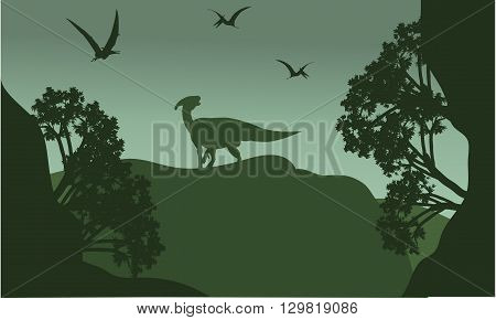 Silhouatte of parasaurolophus and pterodactyl  with green backgrounds