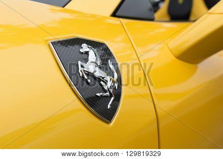 Yellow Ferrari Horse Logo