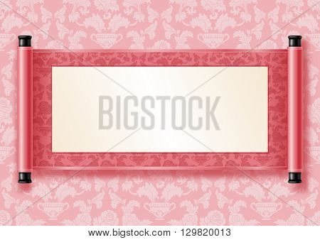 Chinese festive vector card with deployed ancient scroll. Pink floral pattern on scroll and on background. There is a place for your text, calligraphy or painting. Colored vector illustration.
