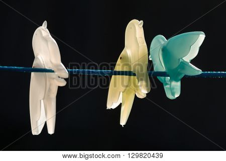 Bird shaped clothes pegs with black backgound