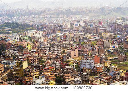 Aerial view of Kathmandu City in Nepal.