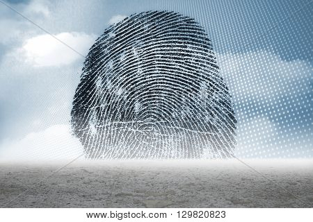 Digitally generated Thumbprint graphic over desert